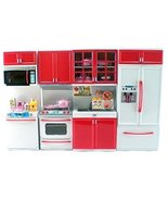 Red Deluxe Modern Kitchen Compatible with Barbie Dolls Stove Fridge, Mic... - $24.99