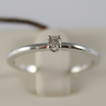 18K WHITE GOLD SOLITAIRE WEDDING BAND THIN STEM RING DIAMOND 0.07 MADE IN ITALY image 1