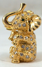 Gold Colored Elephant with Crystals figurine Sitting with trunk Up - $25.99
