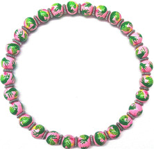 New In Pouch Angela Moore Pink Beaded Necklace With Green Frogs - $49.49