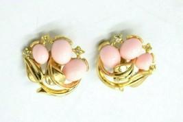 Crown Trifari Pink Cabochon Clear Rhinestone Flower Gold Tone Clip Earrings - $74.24