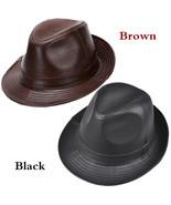 Men's 100% Real Cowhide Leather Vintage Cowboy Cap Cowhide Casual Fedora... - $26.95