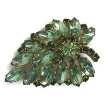 Vintage Mid Century Green Prong Set Rhinestone Leaf Shaped Pin Brooch Un... - $23.28