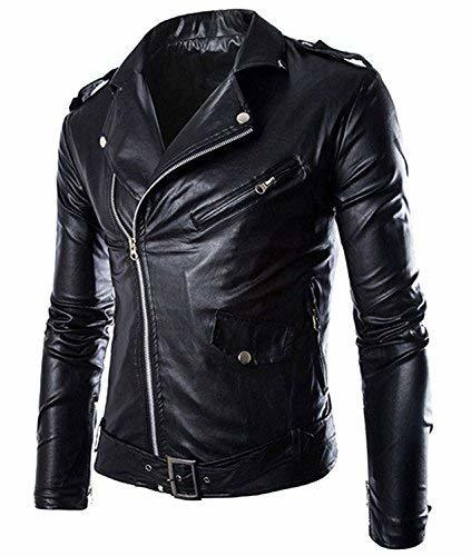 Men's Black Slim fit Brando Style Faux Leather Buckles Motorcycle Jacket