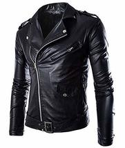 Men's Black Slim fit Brando Style Faux Leather Buckles Motorcycle Jacket image 1