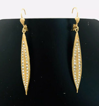Crystal Long Dangle Earrings Gold Vermeil Hook Statement Elegant Fashion... - $17.82