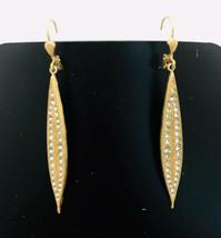 Crystal Long Dangle Earrings Gold Vermeil Hook Statement Elegant Fashion Jewelry - $17.82