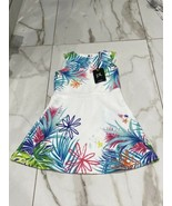 PL Kids Girls White Colorful Floral Print Triangle Cut Back Dress Size 4... - $10.45