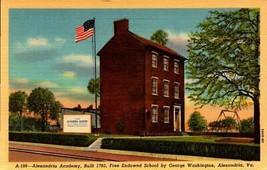 LINEN POSTCARD- ALEXANDRIA ACADEMY, VA - ENDOWED BY GEORGE WASHINGTON  BK24 - $3.47