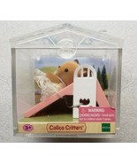 Calico Critters Baby Deer On Pink Slide In Display Case Epoch - $9.89