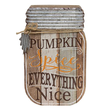 Pumpkin Spice Mason Jar Plaque Slatted Wood Door wall  - $39.99