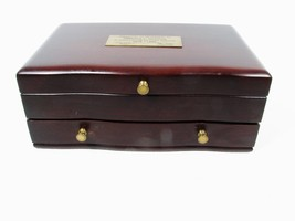 Reed & Barton Wooden Jewelry Box Top Opening w/ Bottom Drawer Red Velvet... - €17,15 EUR