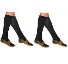 2 Pair Sm/Med Black/Gold - Bcurb Graduated Compression Socks Below Knee Calves H - $14.99
