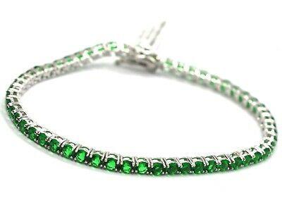 925 Silver Tennis Bracelet, Green Cubic Zirconium 3 mm, length 18 cm