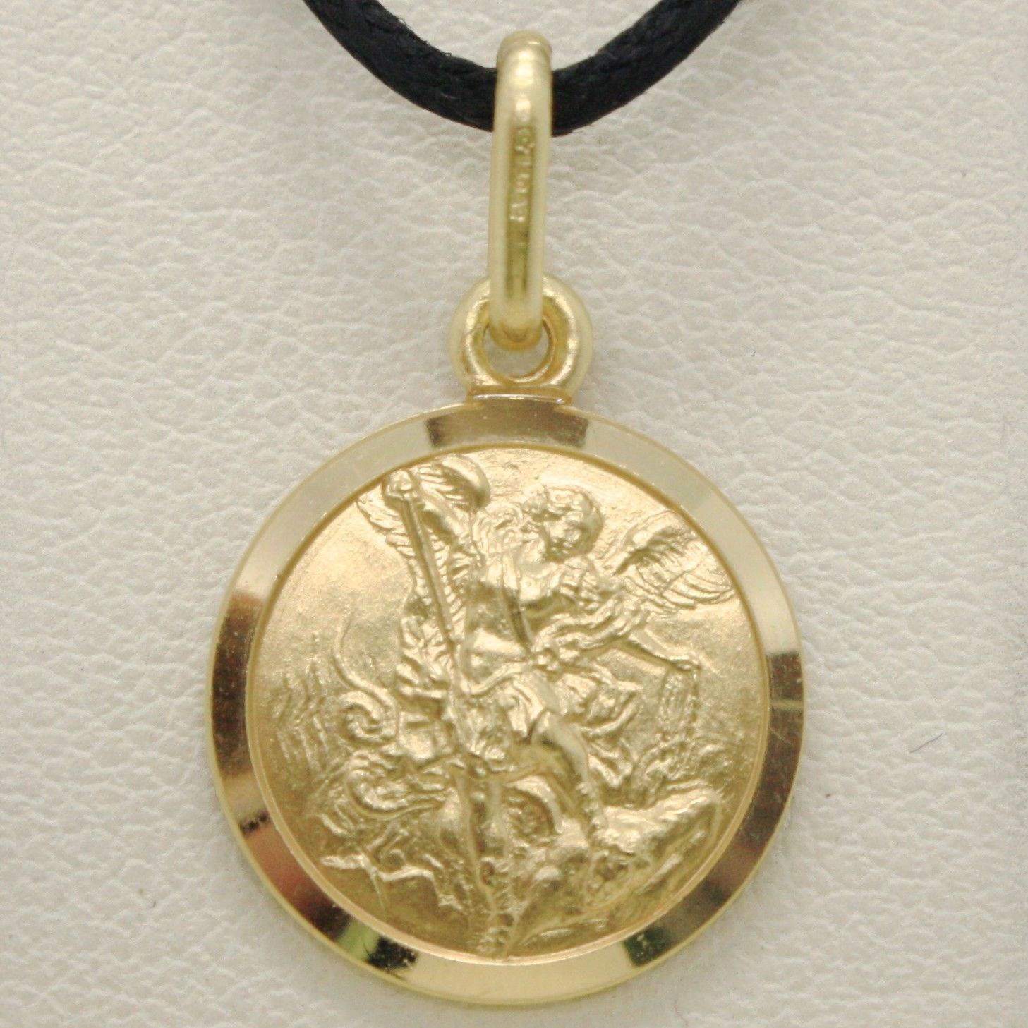 SOLID 18K YELLOW GOLD SAINT MICHAEL ARCHANGEL 13 MM MEDAL, PENDANT MADE IN ITALY