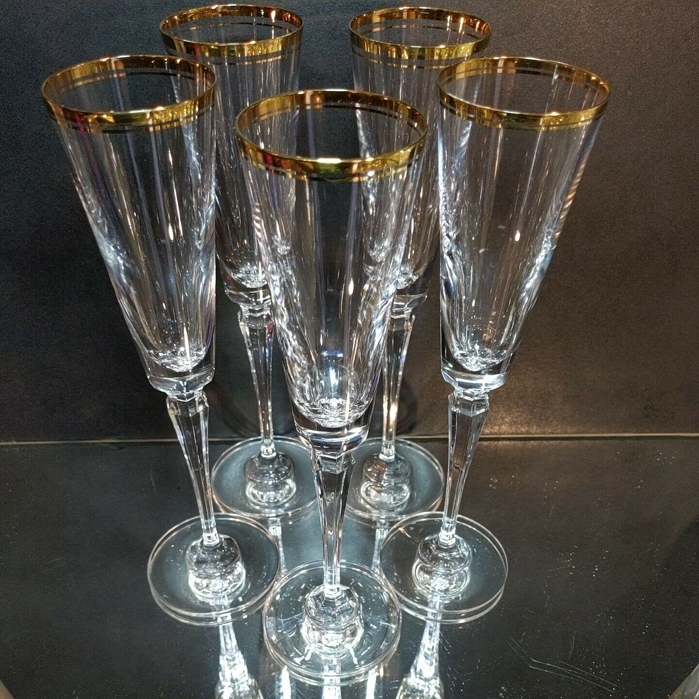 "5 (Five) MIKASA BRIGHTON GOLD Cut Lead Crystal Champagne Flutes 10.75"" Tall - $118.79"