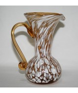 "Vintage Rainbow Glass Amber White Hand Blown Spatter 5"" Mini Pitcher #1816 - $20.00"