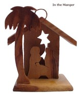 "Small Olive Wood Manger Christmas Ornaments  2.3"" x 2"" - $8.00"