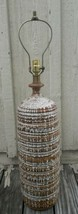Mid Century Brutalist Drip Glaze Large Ceramic Table Lamp Brown & White - $188.09