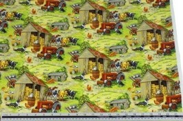 Rural Farmyard Green 100% Cotton High Quality Fabric Material 3 Sizes - $3.08+