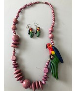 """South American Necklace Mauve Beads and Parrot -29"""" With Matching Earrings - $24.73"""