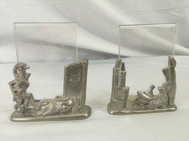 Pair of Kirk Steiff Pewter Child/Infant Photo Picture Frames - ABC & 123 - $19.79