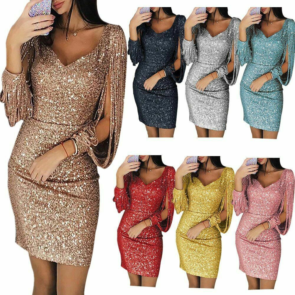 Primary image for Elegant Dress Sparkling Long Sleeve Women Slim Fit S-XXXL Evening Party V Neck