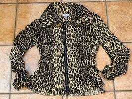 LINEA DOMANI FALL JACKET BROWN LEOPARD PRINT 4 S ZIP FITTED SEXY BOUTIQU... - $19.76