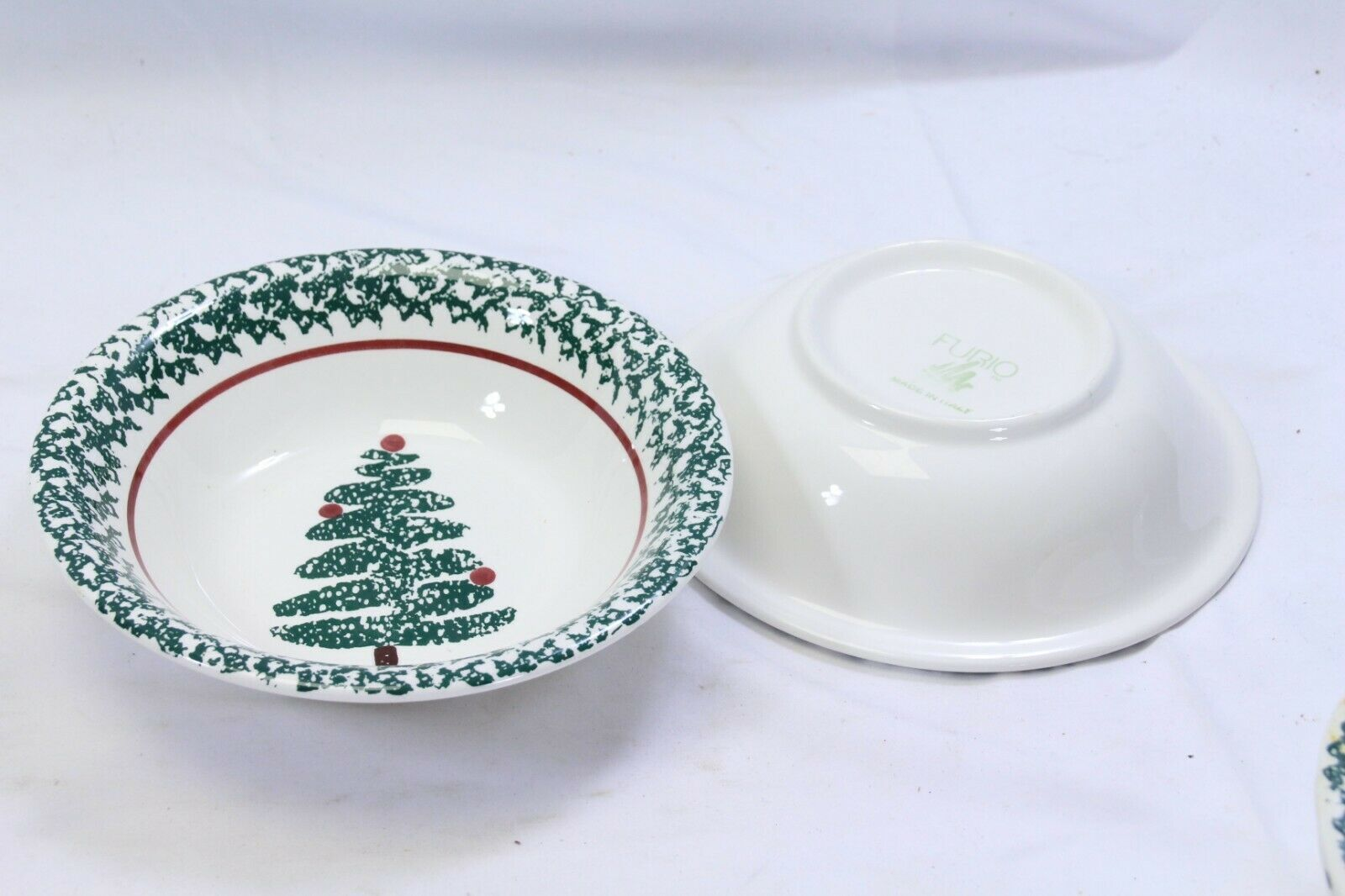"Furio Xmas Tree Soup Bowls 8.125"" Lot of 4 Made in Italy image 7"