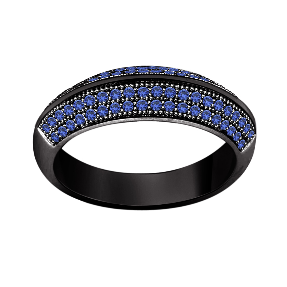 Blue Sapphire 925 Silver Black Rhodium Over Anniversary Band Ring For Your Dear