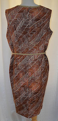 ANNE KLEIN Jungle Print Belted Sleeveless Sheath Dress Fully Lined Sz 16