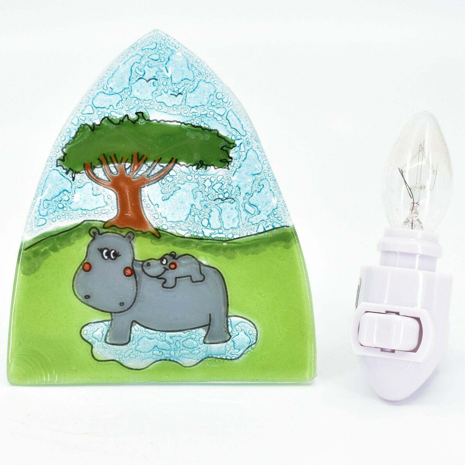 Fused Art Glass Hippopotamus Hippo Nightlight Night Light Handmade in Ecuador