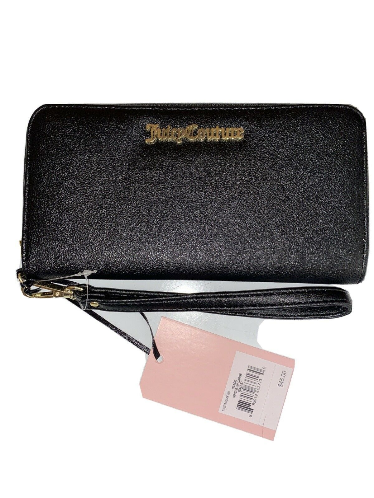 Primary image for JUICY COUTURE Wallet- Wristlet Zip Around Black Gold Brand Name Plate Large New