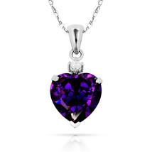 3.07Ct Created Diamond & Heart Amethyst Charm Pendant14K White Gold w/Chain - $68.88+