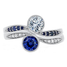 Duo Bezel Diamond & Sapphire Engagement Ring and Wedding Band - $3,425.00