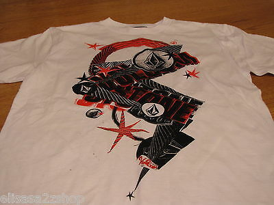 Boys youth kids Volcom Stone short sleeve white surf skate TEE logo L t shirt