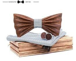 3D WOODEN Handmade BOW TIE & Handkerchiefs Cuff Links with Box Gift NEW - $35.05