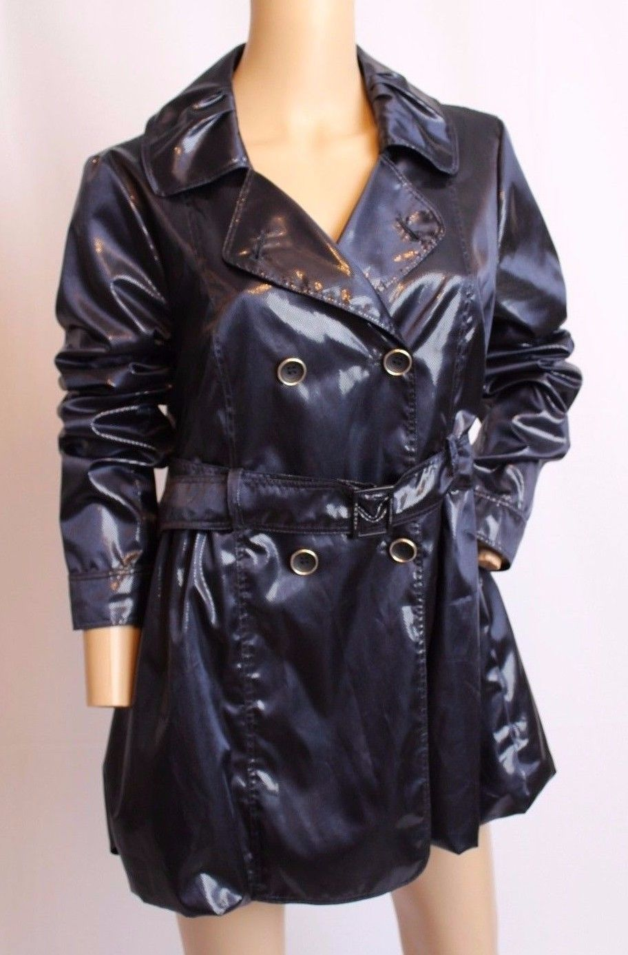 Armani Collezioni Italy Navy Blue Shiny Dots Bubble Hem TRench Coat Jacket 6