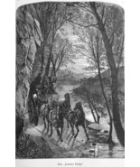 NORTH CAROLINA Lover's Leap French Broad River Horse Carriage- 1883 Germ... - $21.60