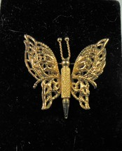 Vintage Monet Gold Tone Filigree Butterfly Pin Brooch - $12.86