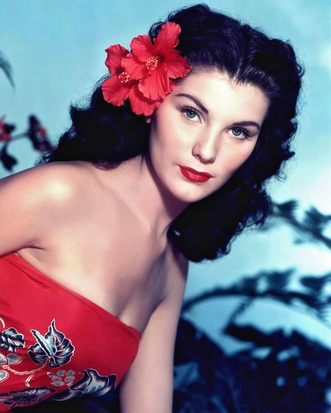 Primary image for Debra Paget in Bird of Paradise bare shouldered in tropical dress red flower