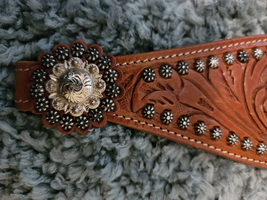 Leather Tooled Bronc Noseband with Conchos and Spots image 2