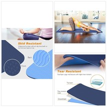 Fitness Yoga Mat Double Layer 1/4 inch Thick Non Slip Eco Friendly  - $31.52