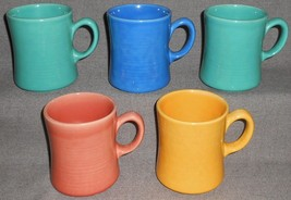 Set (5) Metlox COLORSTAX PATTERN Handled Mugs MADE IN CALIFORNIA - $49.49