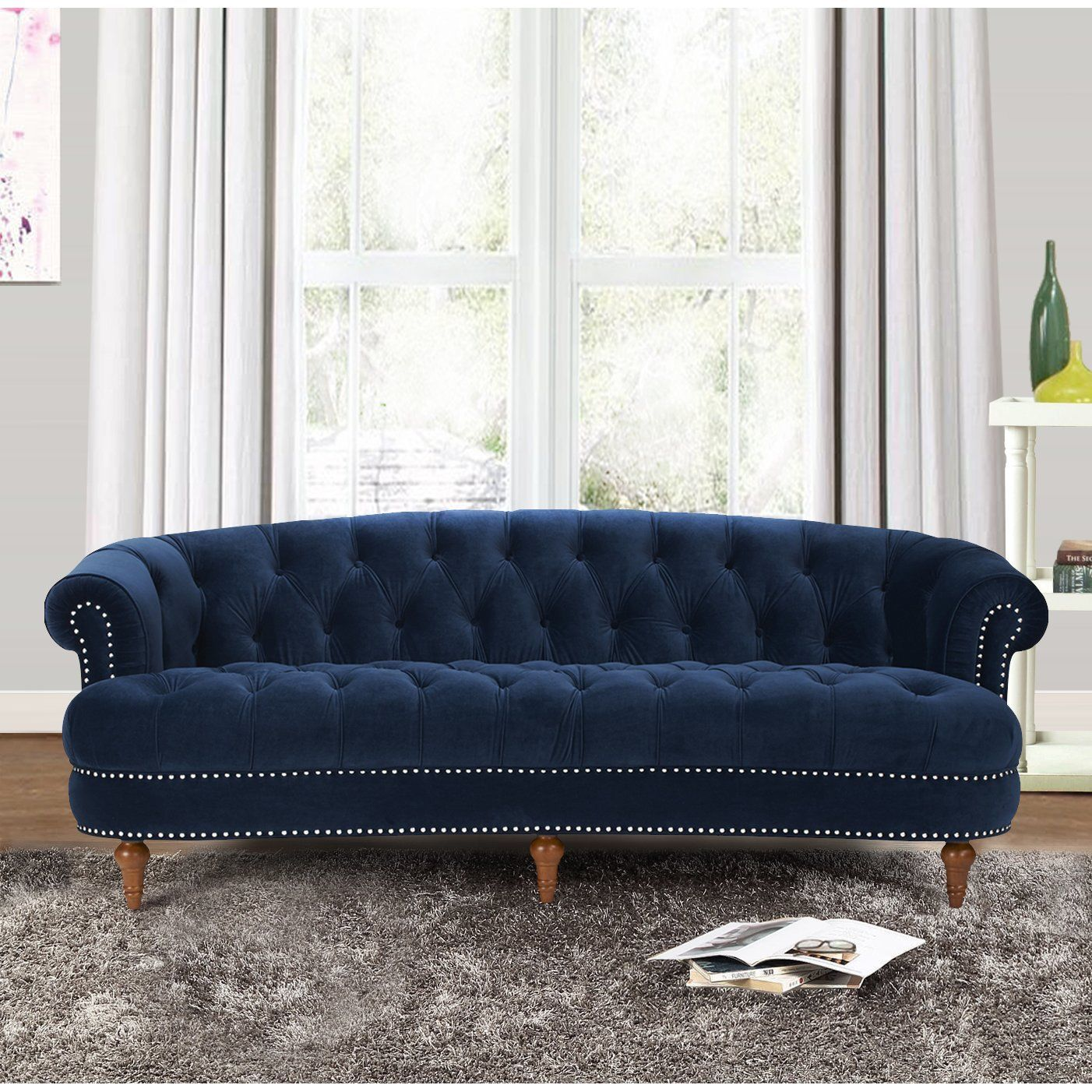 Royal Blue Grand Chesterfield Velvet Sofa Nail Heads