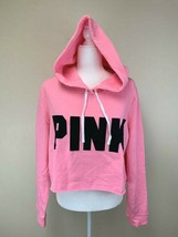 NEW Victoria's Secret Pink L Large Cropped Hoodie Sweatshirt Black Logo - $24.99