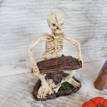 Witch Fairy Garden Kit, Miniature Halloween Village Set, Skeleton black cat owl image 5