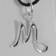 18K WHITE GOLD PENDANT CHARM INITIAL LETTER M, MADE IN ITALY 1.0 INCHES, 25 MM image 2