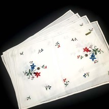 Four Hand Embroidered  Floral Linen Placemats - $18.00