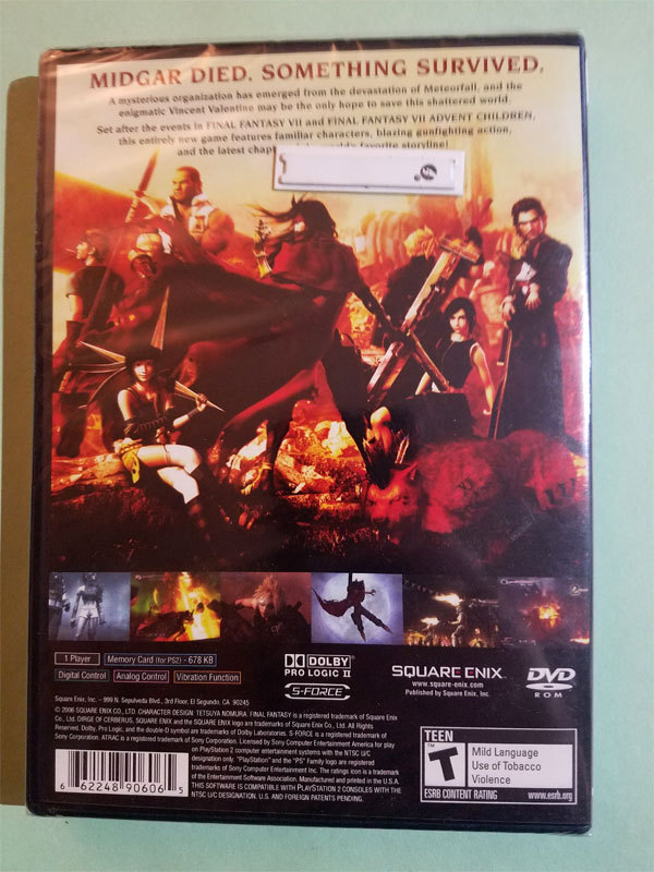 Final Fantasy VII 7 Dirge of Cerberus New Sealed Black Label Playstation 2 Game